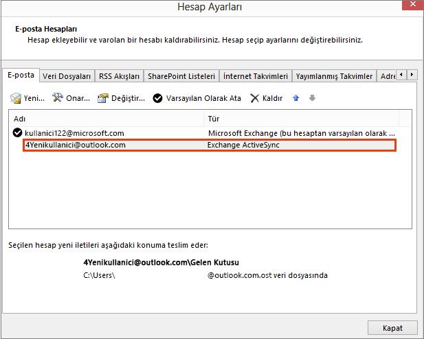 Outlook Hesap Ayarları, E-posta Hesapları