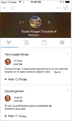 Konuşma görünümünü Outlook grupları mobil uygulaması