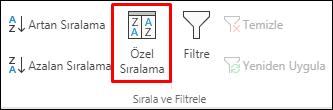 Veri sekmesindeki Excel Özel Sıralama seçenekleri