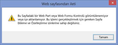 Komut dosyası sitede veya site koleksiyonunda görüntülenen hata iletisi