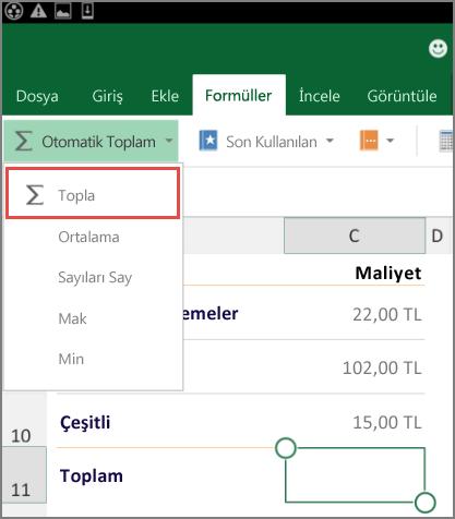 Android için Excel Şerit erişim menüsü