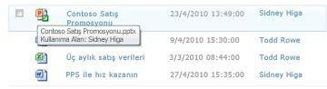 Kullanıma alınan dosya simgesinin altında görüntülenen Araç İpucu. Kullanıcıya dosyanın adını ve kim tarafından kullanıma alındığını gösterir.