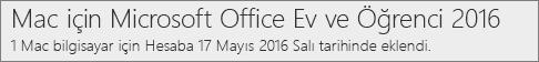 Office 2016'nın Mac sürümü Office.com/myaccount'ta nasıl gösterilir