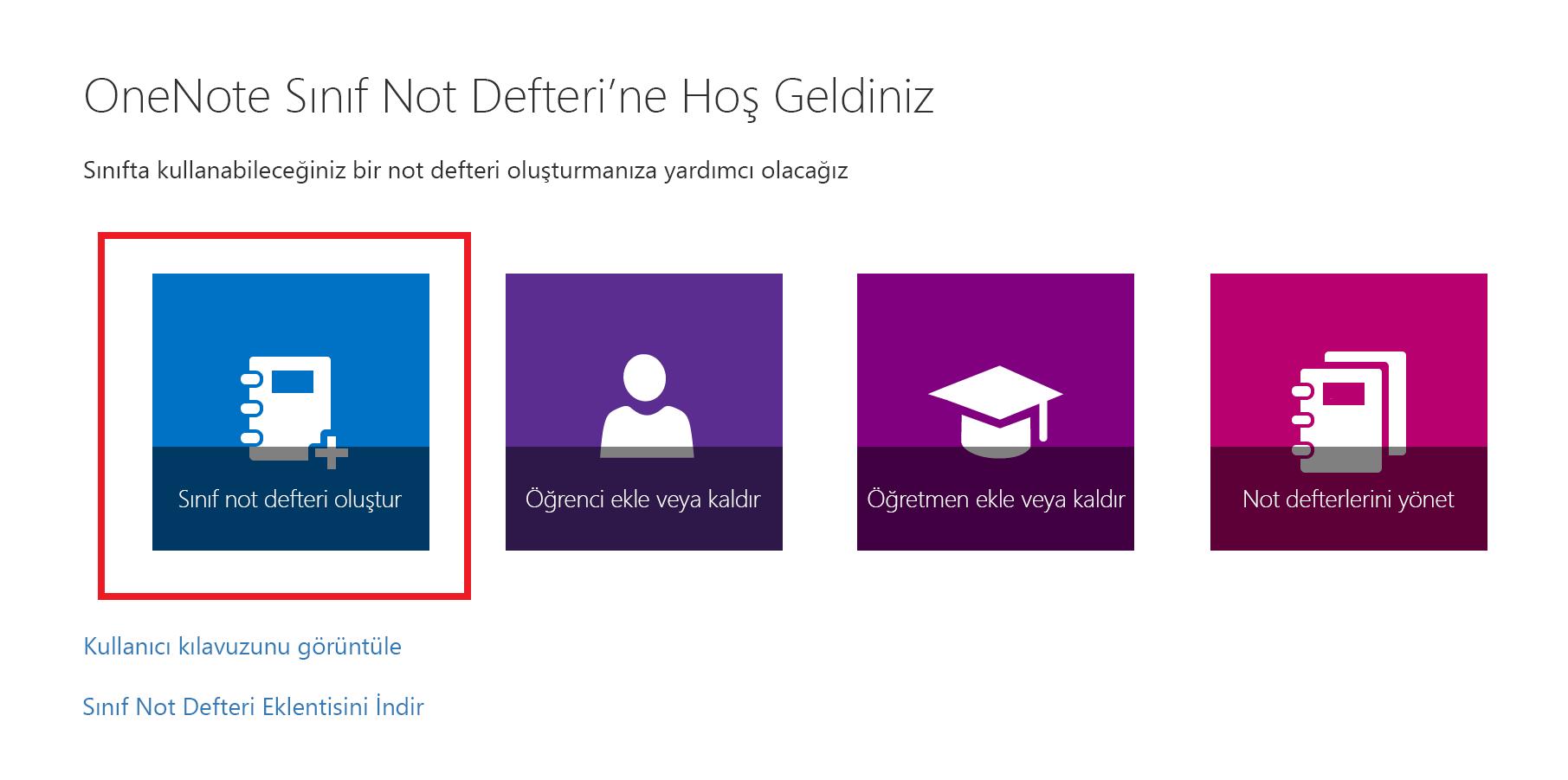 Sınıf Not Defteri uygulaması hoş geldiniz sayfasının ekran görüntüsü.
