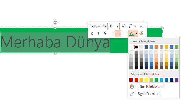 Gizlemek istediğiniz metni seçin ve Yazı Tipi Rengi seçicisinde arka plan rengine tıklayın.