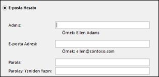 Exchange için e-posta adresinizi ve parolanızı girin