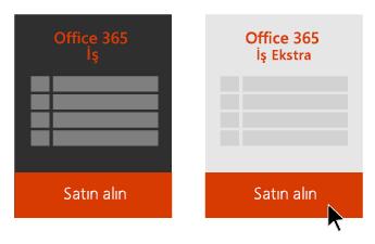 Office 365 İş ve Office 365 İş Ekstra seçenekleri, Office 365 İş Ekstra'nın altındaki Satın Al düğmesine işaret eden bir ok.