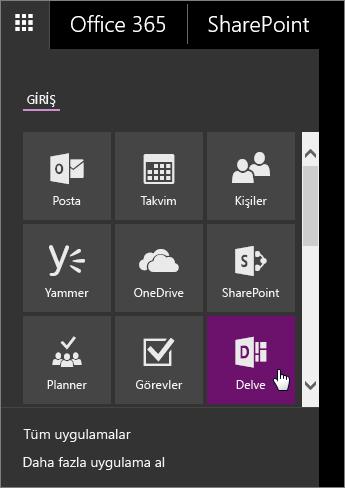 Delve kutucuğu etkinken Office 365 uygulama bölmesinin ekran görüntüsü.