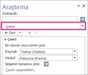 Araştırma bölmesindeki Çeviri seçeneği
