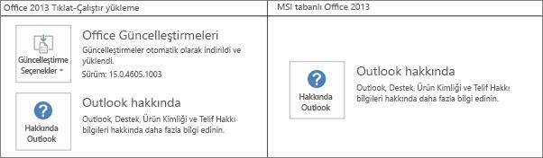 Office 2013 yüklemesinin tıkla-çalıştır özellikli veya MSI tabanlı olduğunu anlamanın yollarını gösteren grafik