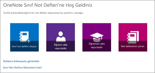 Sınıf not defteri oluşturma, Öğrenci ekleme veya kaldırma, Öğretmen ekleme veya kaldırma ve Not defterlerini yönetme simgeleriyle OneNote Sınıf Not Defteri Sihirbazı.