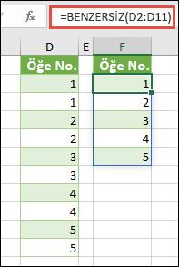BENZERSİZ işlevi örneği: =BENZERSİZ(D2:D11)