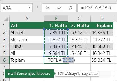 B6 hücresinde Otomatik Toplam Topla formülü gösterilir: =TOPLA(B2:B5)