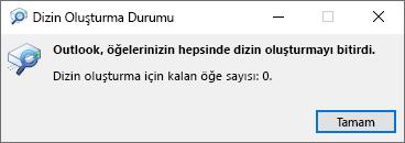 Outlook arama için dizin oluşturma durumu