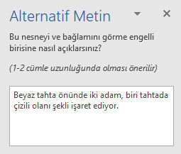 Alternatif Metin bölmesi