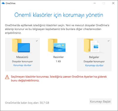 Yönet koruma onedrive'da önemli klasörleri iletişim kutusunun ekran görüntüsü