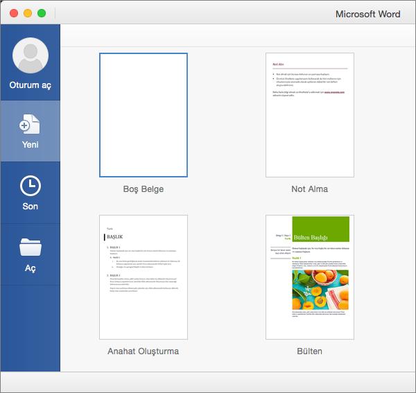 Şablondan yeni bir belge oluşturmak için şablona çift tıklayın.