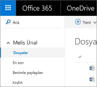OneDrive İş'te Dosyalar görünümünün ekran görüntüsü