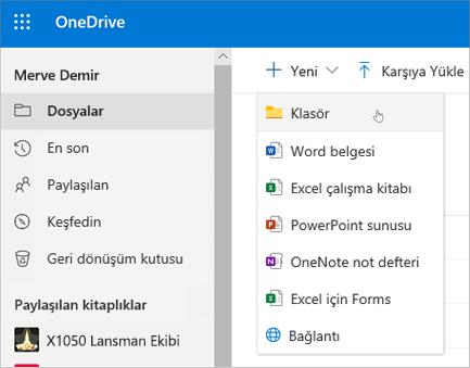 OneDrive Klasör Oluştur