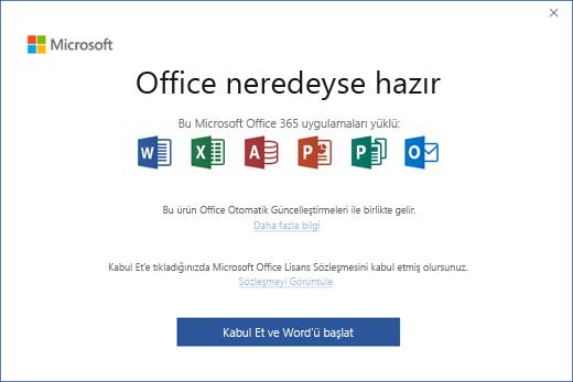 """Lisans sözleşmesini kabul edip uygulamayı başlattığınız """"Office Neredeyse Hazır"""" sayfasını gösterir"""