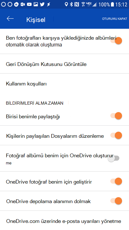 Bildirim ayarlarını belirlemek için Android uygulaması OneDrive ayarları gidin.