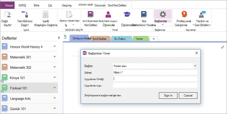 Ekran görüntüsü bağlantılar iletişim kutusu OneNote sınıf not defteri eklentisiyle Grup İlkesi yapılandırılmadı.