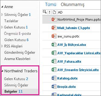 Outlook'taki site  posta kutusu