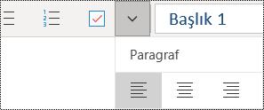 Windows 10 uygulaması için OneNote'ta paragrafları sola hizalama