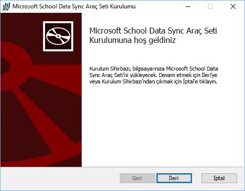 Microsoft SChool Data Sync Araç Seti Kurulumu'nun Hoş Geldiniz sayfasında İleri'yi seçin