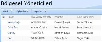 Bölgesel Yöneticiler özel listesi