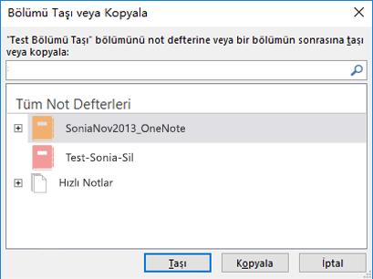 Windows 2016 için OneNote Taşı veya Kopyala Bölümü iletişimi