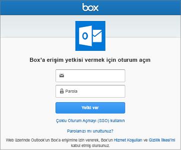 Depolama hesabını bağlarken, Outlook'un dosyalarınıza erişebilmesi için kullanıcı adınızı ve parolanızı sağlamalısınız
