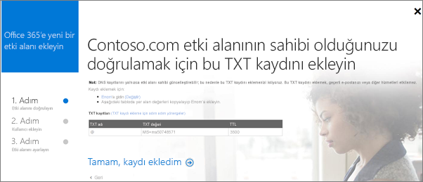 Etki alanının sahibi olduğunuzu doğrulamak için TXT kaydını ekleyin.