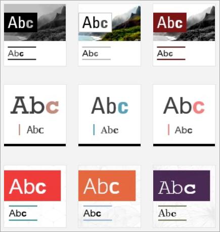 Sway tasarım küçük resimlerinin ekran görüntüsü.