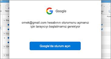 Kullanıcının oturum açmasını isteyen Google iletişim kutusu