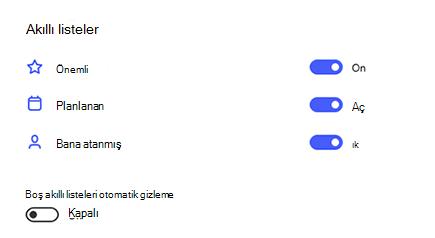 Önemli, planlanmış ve bana atanmış olan ayarlar 'daki akıllı listelerin ekran görüntüsü, boş akıllı listeleri devre dışı bırakma