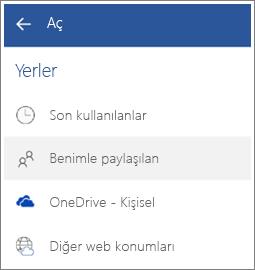 Android'de başkalarının sizinle paylaştığı dosyayı görme işleminin ekran görüntüsü.