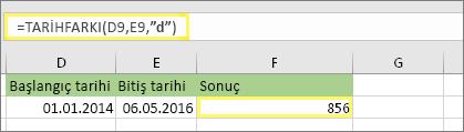 """=TARİHFARKI(D9,E9,""""g""""), 856 sonucunu döndürür"""