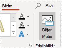 Windows için PowerPoint 'te şeklin altmetin düğmesi