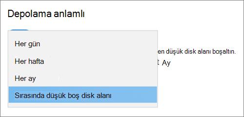 Windows 10 Storage açılır menüsü