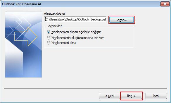Kayıt hedefi ve dosya adı İçe aktarılacak dosya kutusunda görüntülenir.