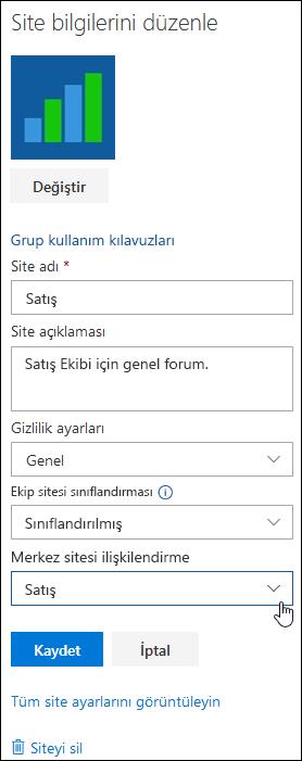 Bir SharePoint sitesinde bir hub sitesi ile ilişkilendirme
