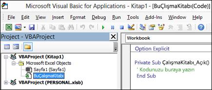 BuÇalışmaKitabı modülü uygulamasında Visual Basic Düzenleyicisi'ni (VBE)