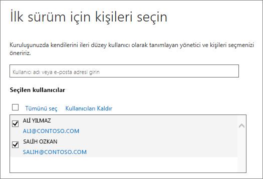 Office 365 sürüm programlarına kullanıcı ekleme