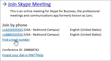 Toplantı oluşumu Bul yerel numarası