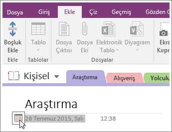 OneNote 2016'da bir sayfanın tarih damgasını değiştirme işleminin ekran görüntüsü
