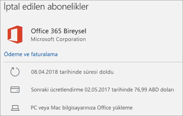 Süresi dolmuş bir Office 365 aboneliğini gösterir