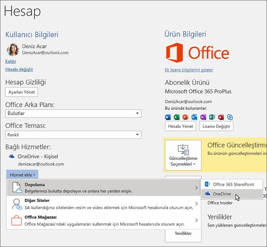 """Bağlı Hizmetler'in altındaki """"Hizmet Ekle"""" seçeneği için OneDrive depolama seçiminin vurgulandığı Office uygulamalarındaki Hesap bölmesi"""