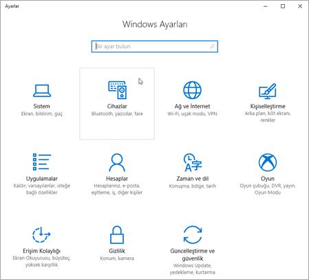 Windows aygıt ayarları PIC