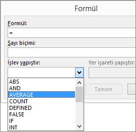 Bir formüle ait yapıştırma işlevleri, Tablo Araçları Düzeni sekmesinde görüntülenir.